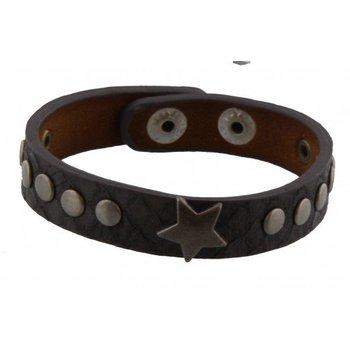 Armband grijs leer met ster