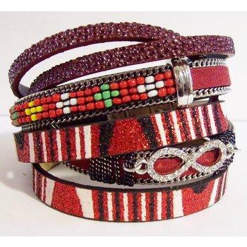 Wikkel armband exclusief rood magneetsluiting 02