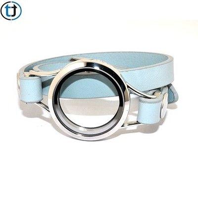 Armband wrap lichtblauw voor Floating Locket