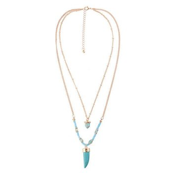 Ketting Ibiza double layer goud-turqoise incl. armband