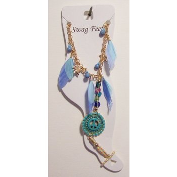 Enkelbandje voetsieraad turqoise-blauw