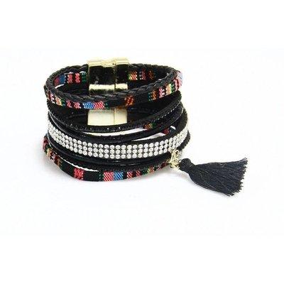 Armband Ibiza exclusief zwart-multicolor magneetsluiting 102