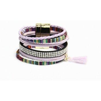 Armband Ibiza exclusief lila-multicolor magneetsluiting 105