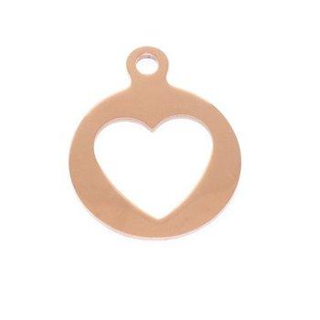 Charm koper Heart voor Pinkiezz Muntketting