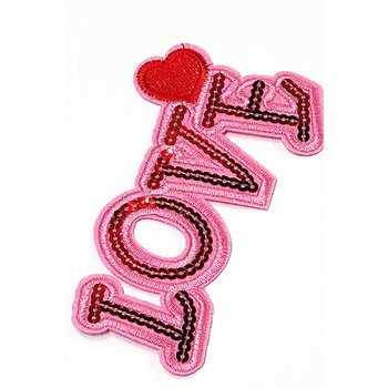 Jeans Patch Love pink