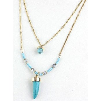 Ketting BOHO double layer goud-turqoise 1