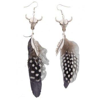 Oorbellen Buffalo grijs-zwart feather