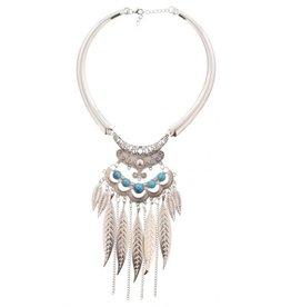ketting Ibiza Boho zilver feathers