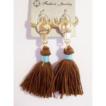 Oorbellen Buffalo bruin-goud