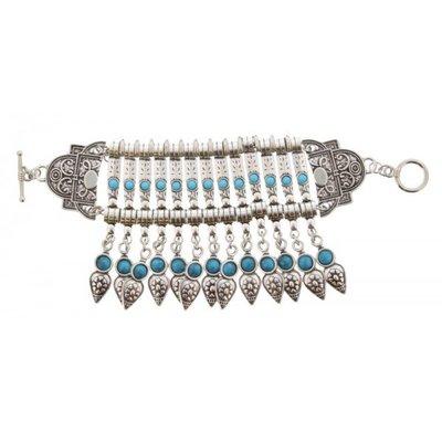 Armband BOHO festival zilver turqoise
