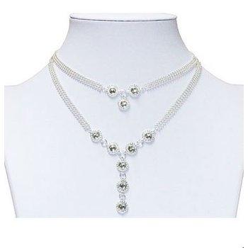 Ketting Y-necklace verzilverd