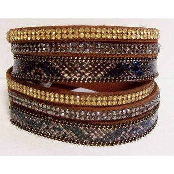 Armband wrap bruin strass snake-print