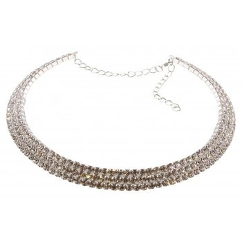 Ketting spang 3-laags strass