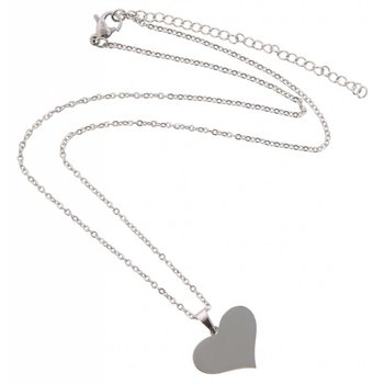 Ketting silver Heart stainless steel