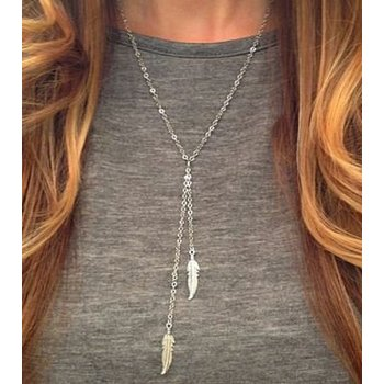 Ketting Y-necklace BOHO silver feathers