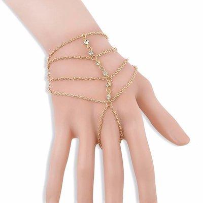 Armband handsieraad BOHO goud-strass