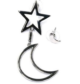 Oorbellen Moon and Star silver