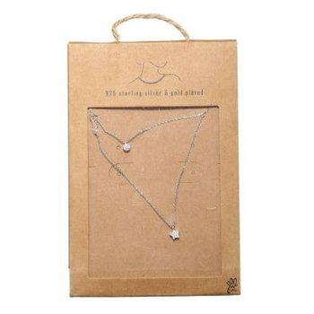 Yehwang Ketting Tiny Star & Round 925 zilver