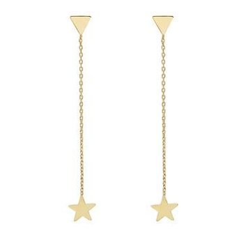 Yehwang Oorbellen chain Triangle & Star gold