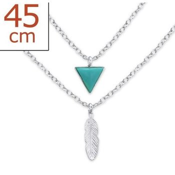Precious Jewel Ketting 925 zilver 2-layer Triangle-Feather