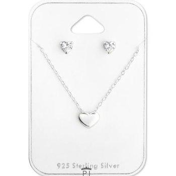 Precious Jewel Ketting 925 zilver Hartje incl. studs strass