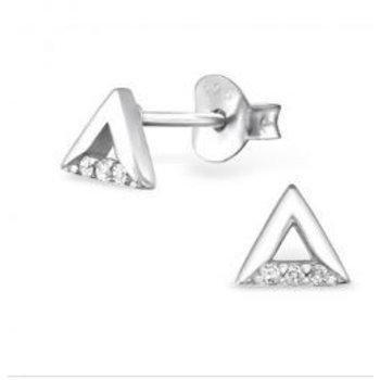 Precious Jewel Oorbellen zilver 925 open Triangle studs Zirconia