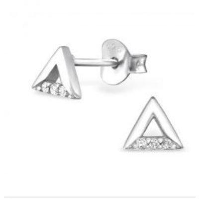 Oorbellen zilver 925 open Triangle studs Zirconia