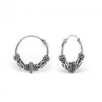 Precious Jewel Oorbellen zilver Bali creolen 12 mm