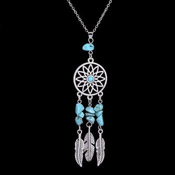 Ketting Dreamcatcher zilver-turqoise