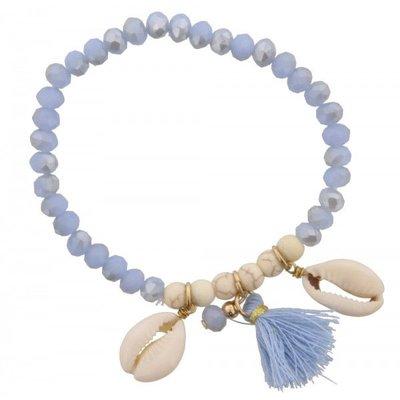 Armband Ibiza blue met schelp