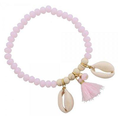 Armband Ibiza roze met schelp