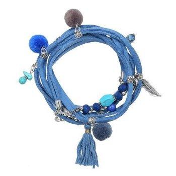 Yehwang Armband wrap Ibiza blauw met bedels