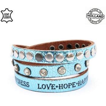 Armband wrap leer Glam blue tekst