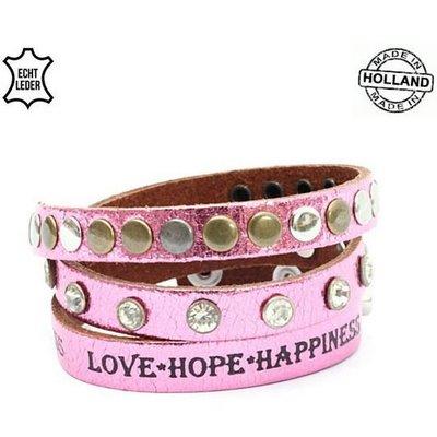 Armband wrap leer Glam pink tekst