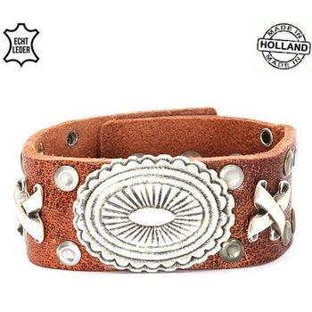 Armband leer bruin-zilver handmade