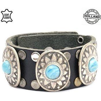 Armband leer zwart zilver-turqoise