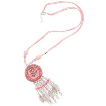 Ketting Ibiza lang roze feathers