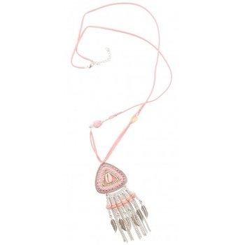 Ketting Ibiza lang roze feathers & shell