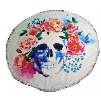 Roundie Beach Towel Skull & Flowers