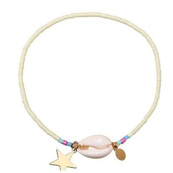 Yehwang Enkelbandje fijn creme Beads & Shell