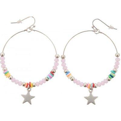 Oorbellen Ibiza pink & star