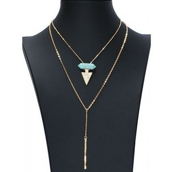 Ketting BOHO double layer goud-turqoise