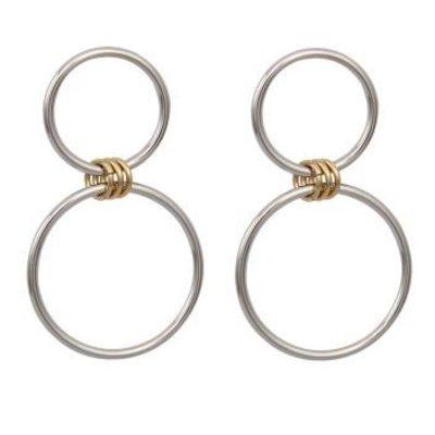 Oorbellen Double Circle zilver