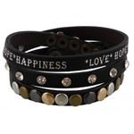 Armband wrap zwart Love-Hope-Happiness