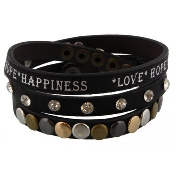 Armband wrap zwart Love-Hope-Happiness