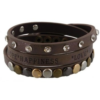 Armband wrap taupe Love-Hope-Happiness