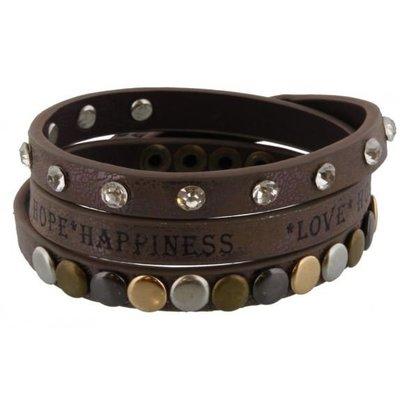 Armband wrap taupe Love-Hope-Happiness