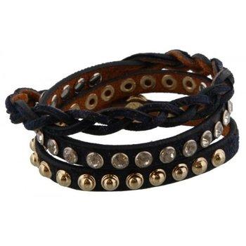 Armband wrap leer stass & studs zwart