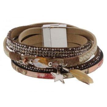 Armband wrap Ibiza pink & star magneetsluiting