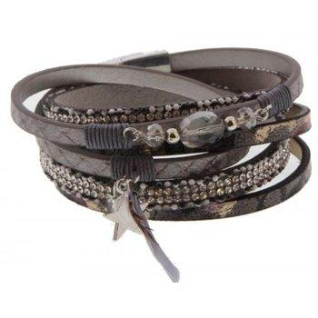 Armband wrap Ibiza grey-gold & star magneetsluiting